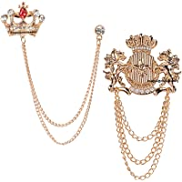Mahi Rose Gold Plated Combo of Crown and Unicorn Chain Brooch with Crystals CO1105082Z