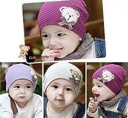 Ziory Warm cotton Cute Winter Crochet Baby beanie Hat (Purple) - Set of 1