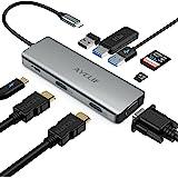 AYCLIF Hub USB C, concentrador tipo c 9 en 1, Adaptador USB C con 2 x 4K HDMI, VGA, PD de 100 W, 3 lectores de tarjetas USB 3