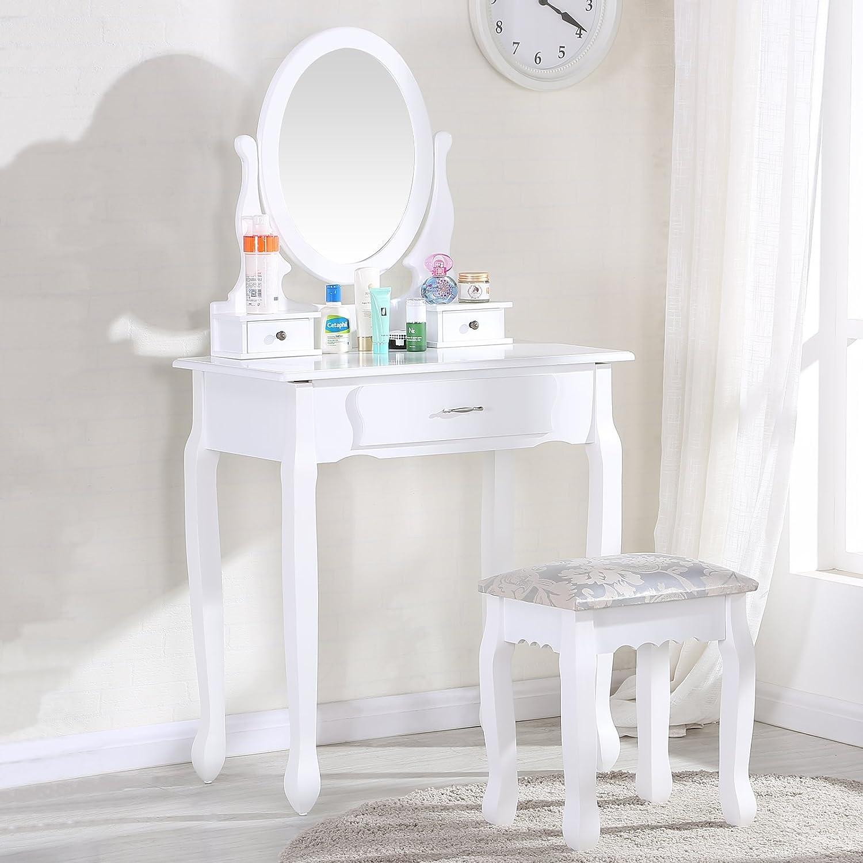 Uenjoy Coiffeuse Table De Maquillage Blanche Avec Tabouret Et  # Table Coiffeuse Pour Chambre