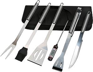 6 in 1 Grillbesteck Koffer + BBQ Thermometer , Bify Edelstahl Grillbesteck-Set 6-Teile im Aluminium BBQ Grill Zubehör mit Tragetasche