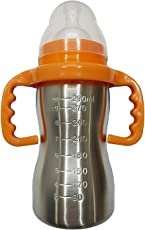 Chhote Saheb Baby Feeding Bottle in Stainless Steel with Thermal Insulation 0-2 Years - 290 ML (Orange)