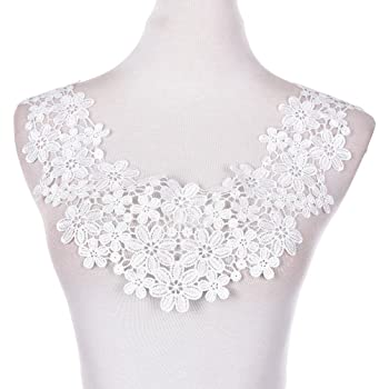 1 Pcs Embroidered Floral Lace Neckline Patches Neck Collar Trim