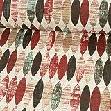 Stoffe Werning Beschichteter Baumwollstoff ovales Retro Muster weinrot PVC Beschichtung - Preis Gilt für 0,5 Meter