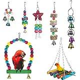 Zacro 7pcs Juguetes de Loro Pájaro, Juguetes para Pájaros Juguete Colgante para Mascotas con Campanas,Columpios,Juguete de Ma