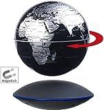 infactory Schwebender Globus: Freischwebender Globus mit beleuchteter Magnet-Schwebebasis, Ø 14 cm (Globen)