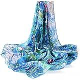 prettystern foulard seta donna con stampa Claude Monet 90cm Fazzoletti da collo