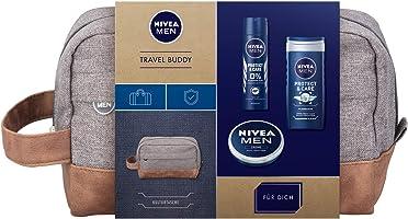 NIVEA MEN Travel Buddy Geschenkset, Kulturtasche für Männer mit Deodorant, Pflegedusche und Hautpflege Creme,...