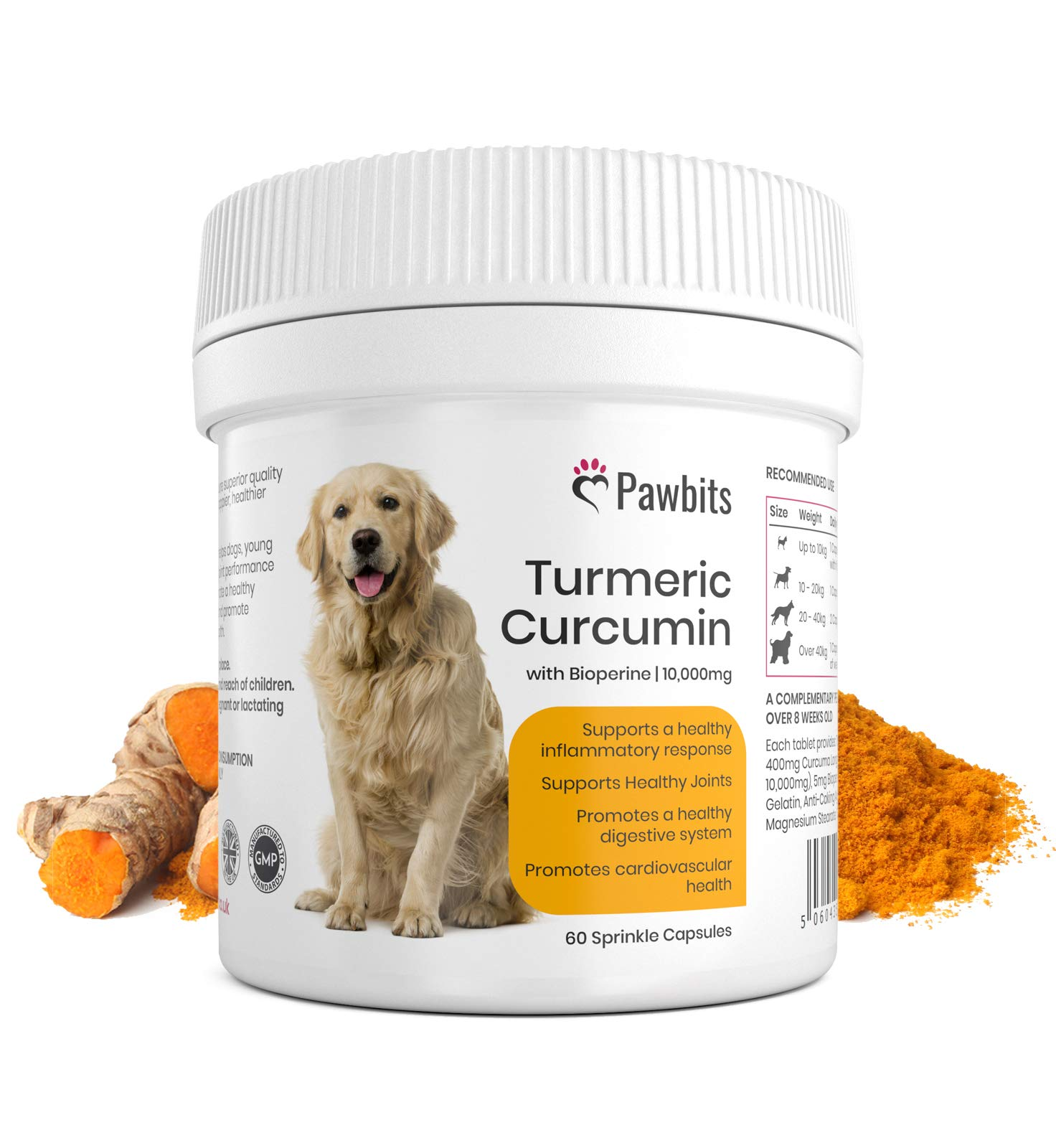 Turmeric for Dogs 500mg extract 10,000mg equivalent for Dogs 60 Sprinkle Capsules Turmeric with Piperine | Helps Support Joints and Hips | Pawbits Turmeric Aids Pain Relief For Dogs | UK Manufactured