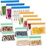 CISHANJIA Bolsa Silicona Reutilizables, 12 piezas Bolsas Congelar Reutilizables sin BPA Bolsas de Almuerzo Ziplock Snack, Bol