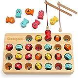 Coogam Jeu de pêche magnétique en Bois de, Puzzle de triage de Couleur Alphabet ABC pour Enfants, Montessori Lettres Cadeau c
