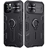 JAMIE Case with Stand Kickstand Ring and Camera Cover Compatible with iPhone 12 Pro Max, Shockproof Hard PC & TPU Bumper Hybr