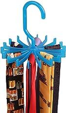 "2 Pack 360 Degree Rotating Twirl Tie Rack Adjustable Tie Belt Scarf Hanger Holder Hook Ties Scarf for Closet Organizer Storage (4.4""blue)"