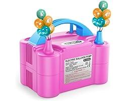 Dr.meter Ballonluchtpomp, Elektrische Inflatorpomp met Dubbele Sproeierblazer Draagbare Pomp voor Kerstdecoraties, Feest, Bru