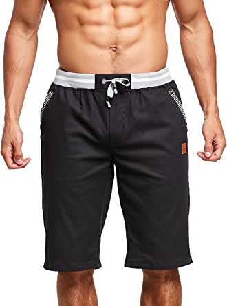 JustSun Mens Cotton Casual Shorts Elastic Waist Pockets