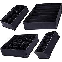 SUPRBIRD Boîtes de rangement pliable pour sous vêtements, Lot de 4, Rangement Tiroir,Séparateur de tiroir, Dressing…