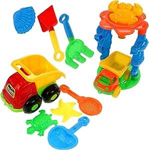 HAC24 10tlg. Sandspielzeug Set Sandkasten Spielzeug Strandspielzeug Formen Schaufel Sand Strand Kipper Lader