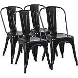 Yaheetech Lot de 4 Chaise de Salle à Manger Industrielle Chaise de Cuisine 45 cm H Empilable Tabouret avec Dossier Jardin Bal