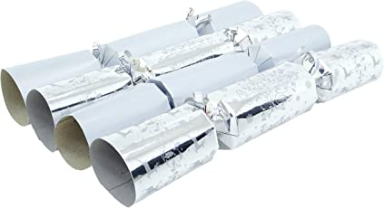 10 Deluxe Silver Christmas Crackers - 5 Plain 5 Christmas Tree Design