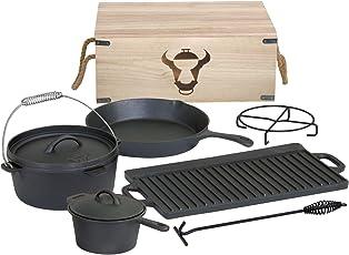 BBQ-TORO 7-teiliges Dutch Oven Set in Holzkiste, Gusseisen, bereits eingebrannt, mit Kochtopf, Stieltopf, Grillplatte, Pfanne, Deckelheber und Untersetzer