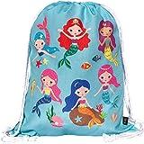 HECKBO® Mermaid Mädchen Turnbeutel - beidseitig mit Buntem Meerjungfrauen Motiv Bedruckt - 40x32cm - waschmaschinenfest - gee