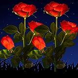 HELESIN Solarleuchten Garten Deko, 2 Stück Wasserdicht Solarlampen für Außen Garten, 2V Solar Garten Lampen mit LED Rose Lich
