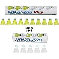 NONGI Combo Plus Plastic Badminton Shuttlecock Pack of 15(10Yellow + 5 White)