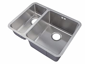 undermount stainless steel 15 bowls kitchen sinks waste kit d03 large bowl right amazoncouk diy tools - Kitchen Sinks Uk