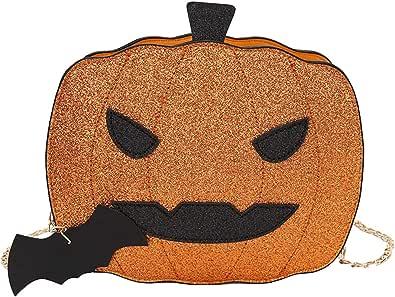 VCTKLN Damen Umhängetasche Kürbis Handtasche Halloween Süßigkeiten Tasche Kleiner Teufel Schultertasche Messenger Bag