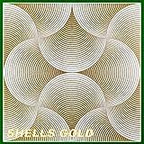 10 m2 Deckenplatten Panorama-Effekt Styroporplatten Paneele 50x50cm, SHELLS GOLD