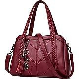 Coolives Damen Hobo Schultertasche Tasche mit Schultergurt Umhängetasche Handtasche aus PU-Leder Weinrot EINWEG