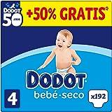 DODOT Bebé-Seco Pañales Talla 4, 192 Pañales, 9-14kg, BOX ANIVERSARIO +50% GRATIS, 8006540257456