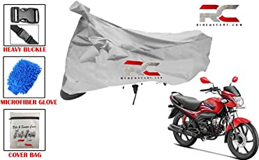 Riderscart Riderscart Bike Cover for Hero Passion Pro TR Polyester 190T Resistant Covers with Micro Fiber Dusting Cleaning Glove Best Combo Deal