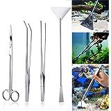 Czemo Aquarium Aquascaping Kit de Acero Inoxidable Acuario Tanque Planta Acuática Herramientas Conjuntos Pinzas, Tijera, Espá