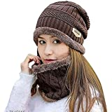 Davidson 2-Pieces Winter Beanie Hat Scarf Set Warm Knit Thick Fleece Lined Winter Hat & Scarf for Men Women