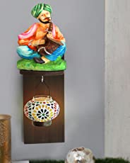 Tied Ribbons Resin Rajasthani Man and Tealight Holder with Shelf (11.99 cm x 11.99 cm x 11.99 cm, TR-ShowpiecewithShelf172L012)