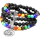 JSDDE 108 perle pietre preziose per yoga, bracciale avvolgente con 7 Chakra, ciondolo di loto, bracciale di perle Reiki Mala,