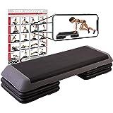 POWRX Step Professionel XXL - Fitness, Aérobic, Cardio-Training/Hauteur réglable (111 x 42 cm)