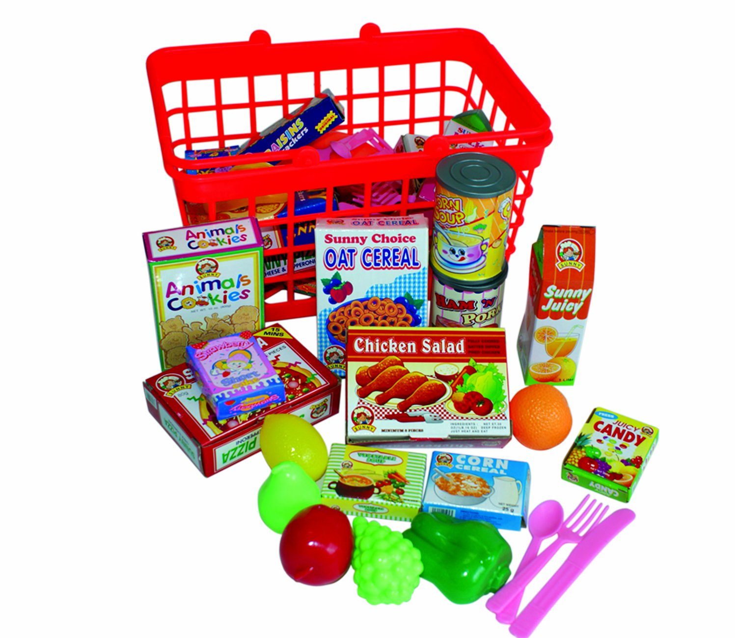 Grocery Basket with Play Food Amazon Toys & Games