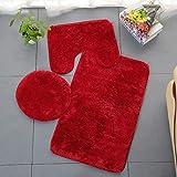 Homieco Tapis de Salle de Bains Couleur Pure 3Pcs Bath Mat Antidérapant et Absorbant Doux Tapis & Couvercle Toilette Couvercl