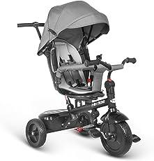 Besrey Triciclo bambini 7 in 1 Triciclo con maniglione Triciclo a spinta Triciclo Passeggino con seggiolino reversibile parasole 6 mesi a 6 anni (GRIGIO)