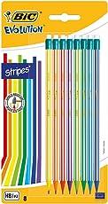 Bic Evolution stripes matita mina HB ultraresistente confezione 8 matite con gommino
