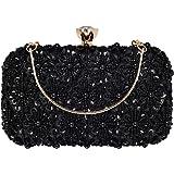 BAIGIO Abendtasche Damen Glitzernd Clutch Bag Handtasche Umhängetasche mit Perlen und Pailletten für Hochzeit Party (Schwarz)