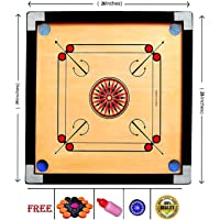 Tryviz Wooden Finish 26 Inch Full Size Carrom Board for Kids and Children with Coins Striker and Boric Powder, Brown (Medium Size)