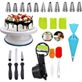 Deetto Cake Decorating Stand with 3pcs Plastic Scraper,8 Measuring Cups,Silicone Spatula and Brush Set,3-in-1 Multi-Cake Icin