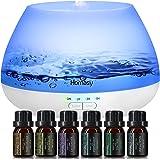Homasy 500ml Difusor de Aromas, Set de 6 Aceites Esenciales, Luz Nocturna de 8 Colores con Ajuste de Temporizador, para Dormi