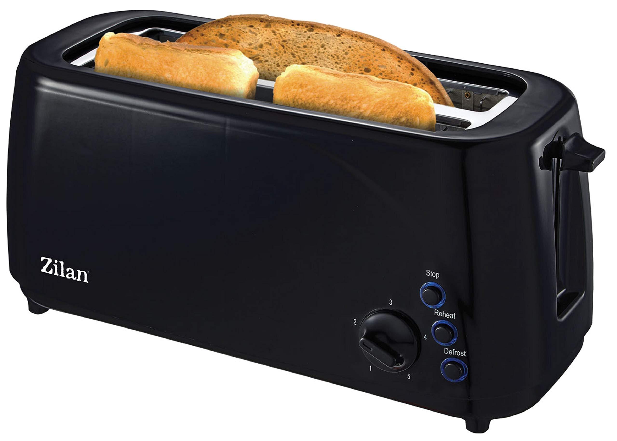 Toaster-Langschlitz-1400-Watt-4-Scheiben-Toastautomat-5-Stufen-Bruneregler-XXL-Toaster-Brtchenaufsatz-Auftau-Funktion-Krmmelschublade-Schwarz