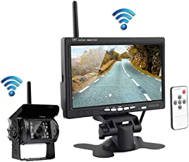 """Podofo Drahtlose IR-Nachtsicht Hintere Ansicht Untersttzungskamera System + 7 """"HD Monitor fr RV LKW-Anhnger-Bus"""