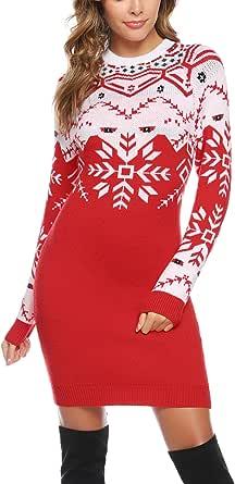 Aibrou Vestito Maglia Natale Donna Girocollo Maglione Lungo Natalizio Abito Elegante a Maglieria Inverno
