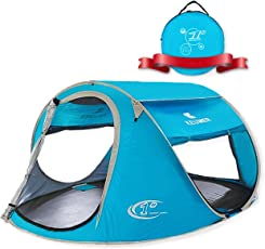 ZOMAKE Zelt Pop Up Strandmuschel, Extra Leicht Strandzelt mit Boden UV 80 Sonnenschutz - Familie Tragbares Strand-Zelt - XXL Beach Tent for Baby